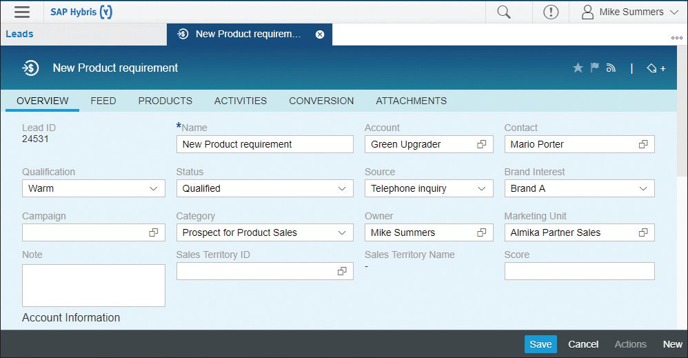 SAP Sales Cloud New Product Requirement
