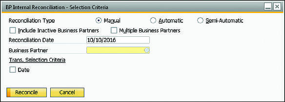 SAP Business One BP Internal Reconciliation