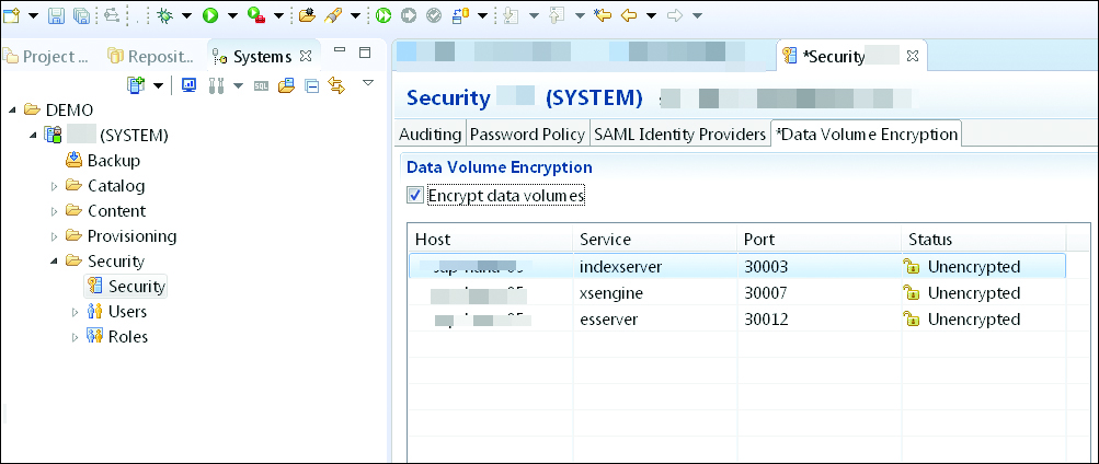 Encrypting Data Volumes in SAP HANA