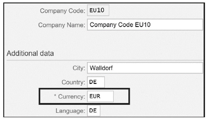 Currency for Company Code EU10