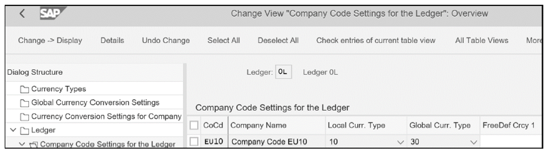 Currency Settings for Company Code EU10