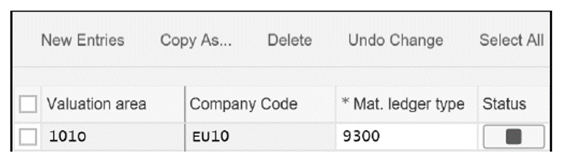 The Material Ledger Type for Company Code EU10