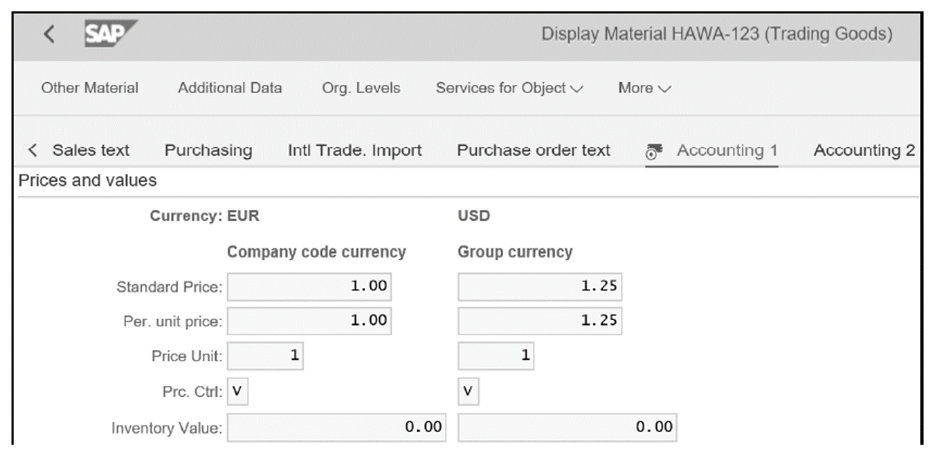 Material Master in Company Code and Group Currency