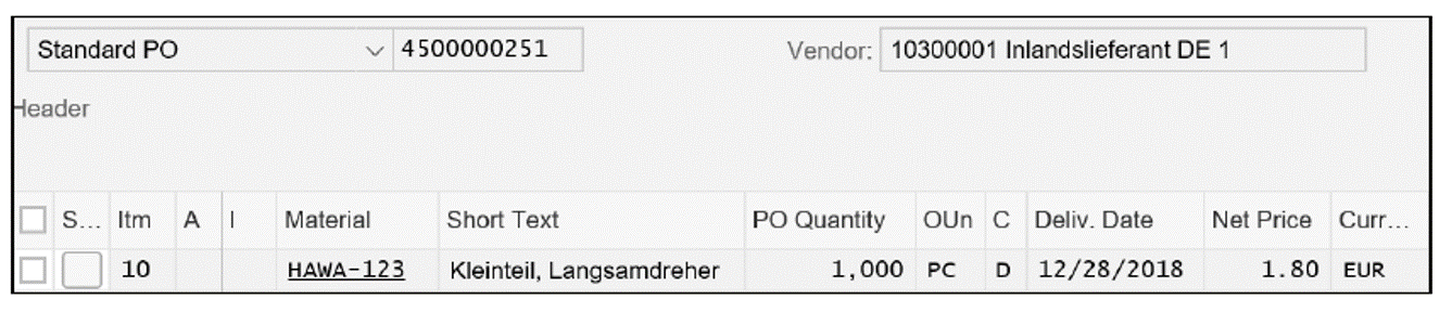 Purchase Order for Material HAWA-123