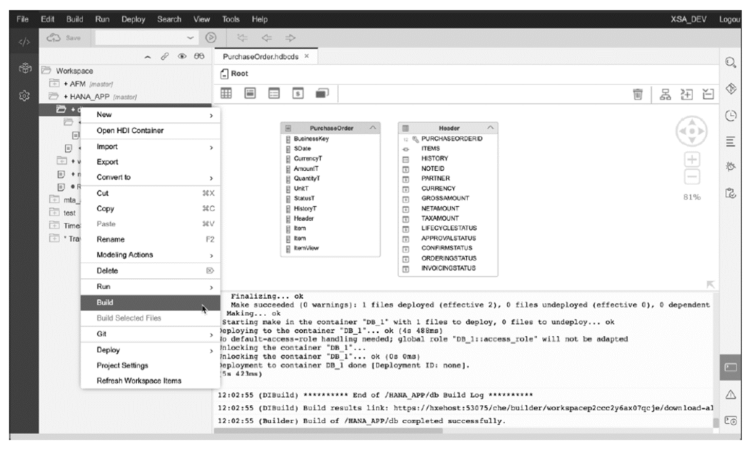 Building Design-Time Artifacts and Deploying to Runtime Database Objects