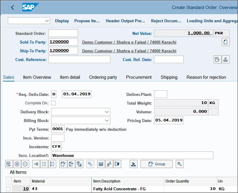 Create Standard Order in SAP QM
