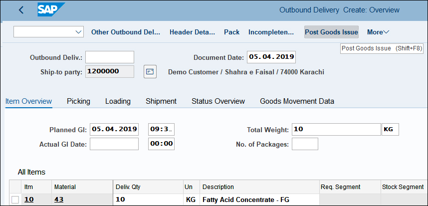 Create Outbound Delivery SAP QM