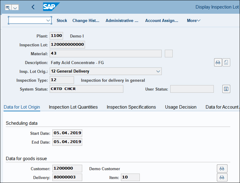 Display Inspection Lot SAP QM