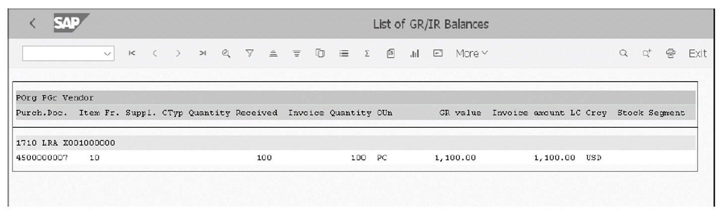 List of GR/IR Balances for a Purchase Order: Results