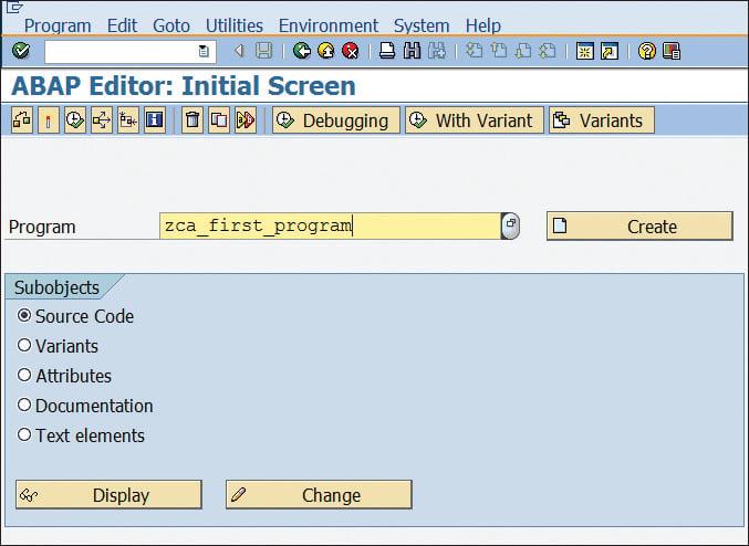 ABAP Editor Initial Screen