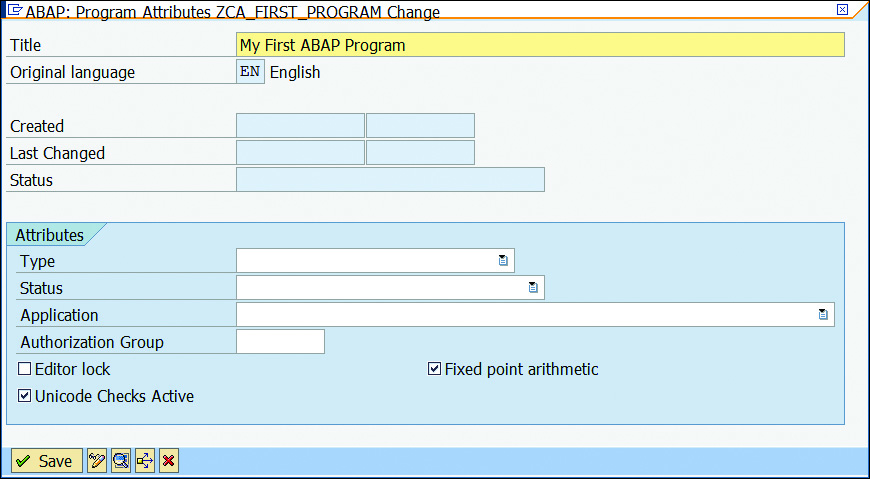 Defining ABAP Program Attributes