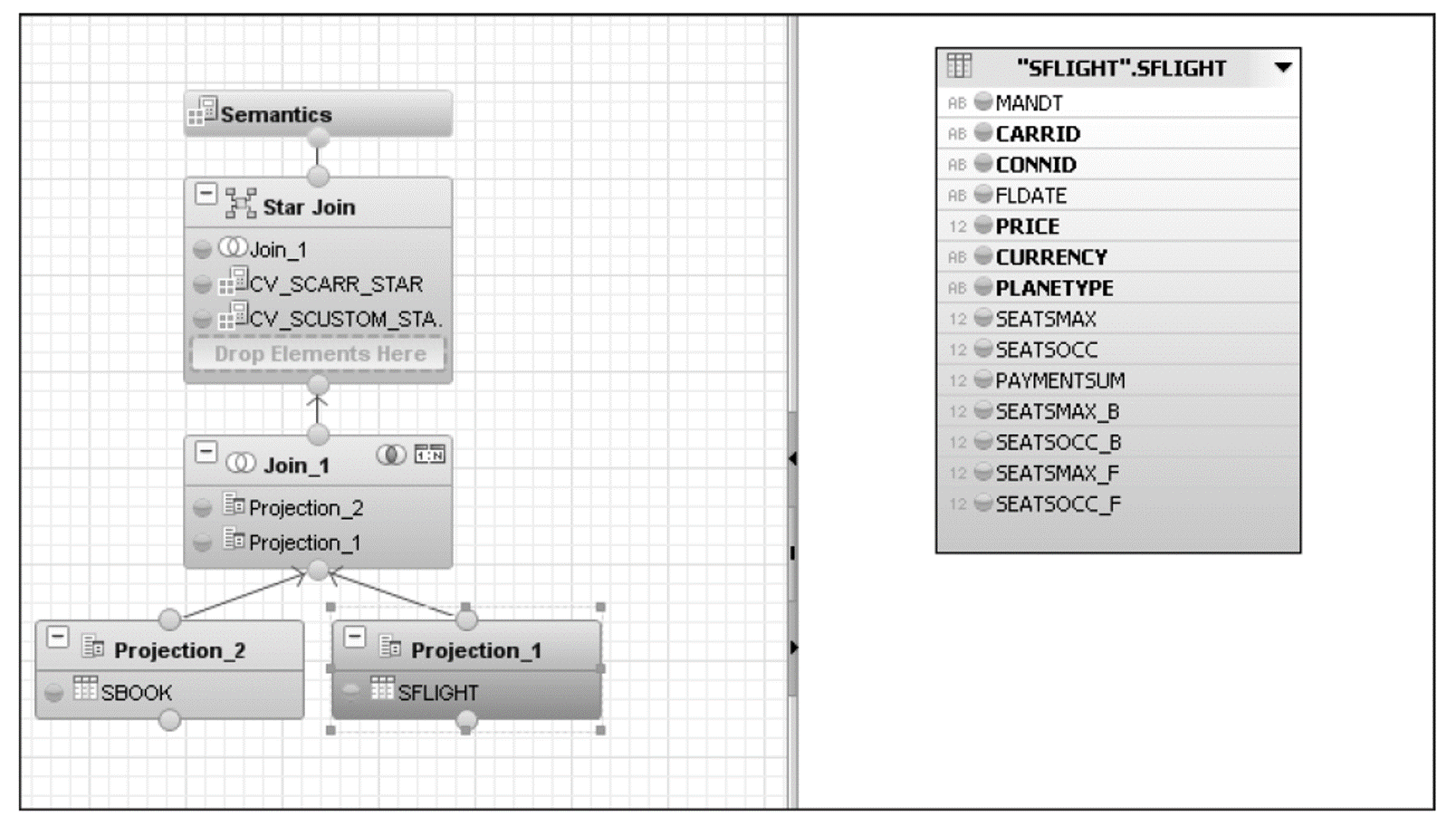 Projection 1 with SFLIGHT as a Table