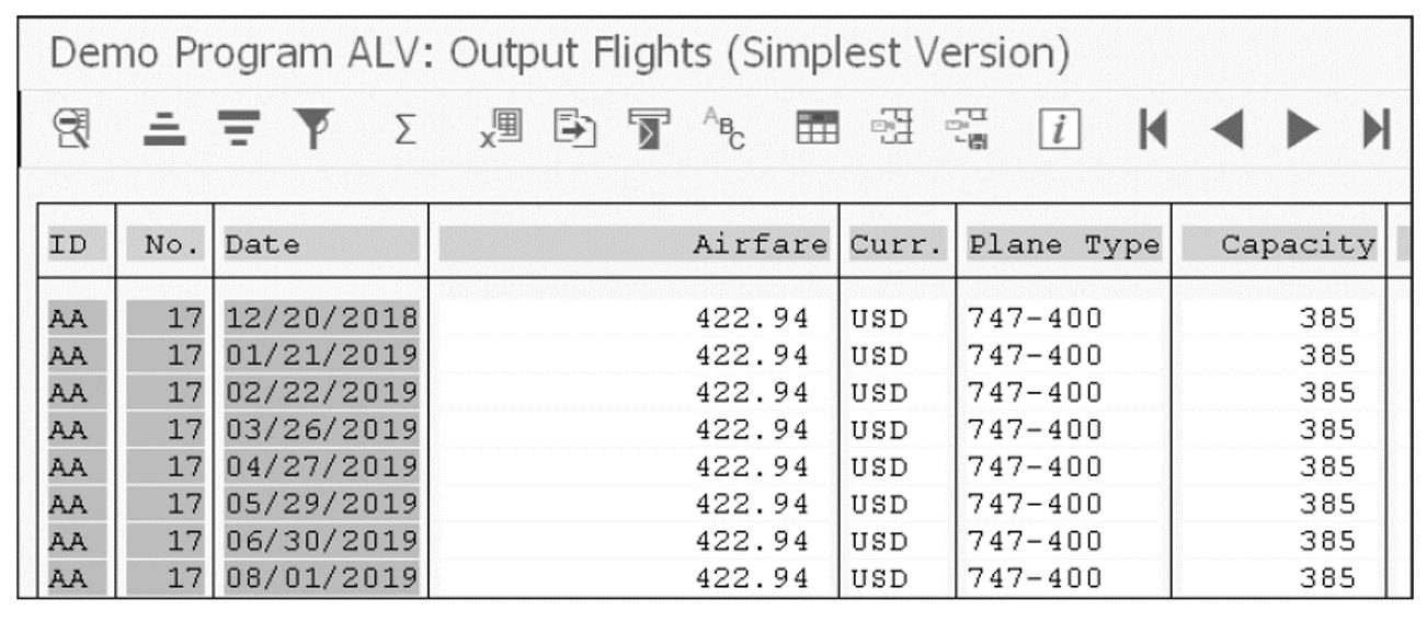 ALV List Example