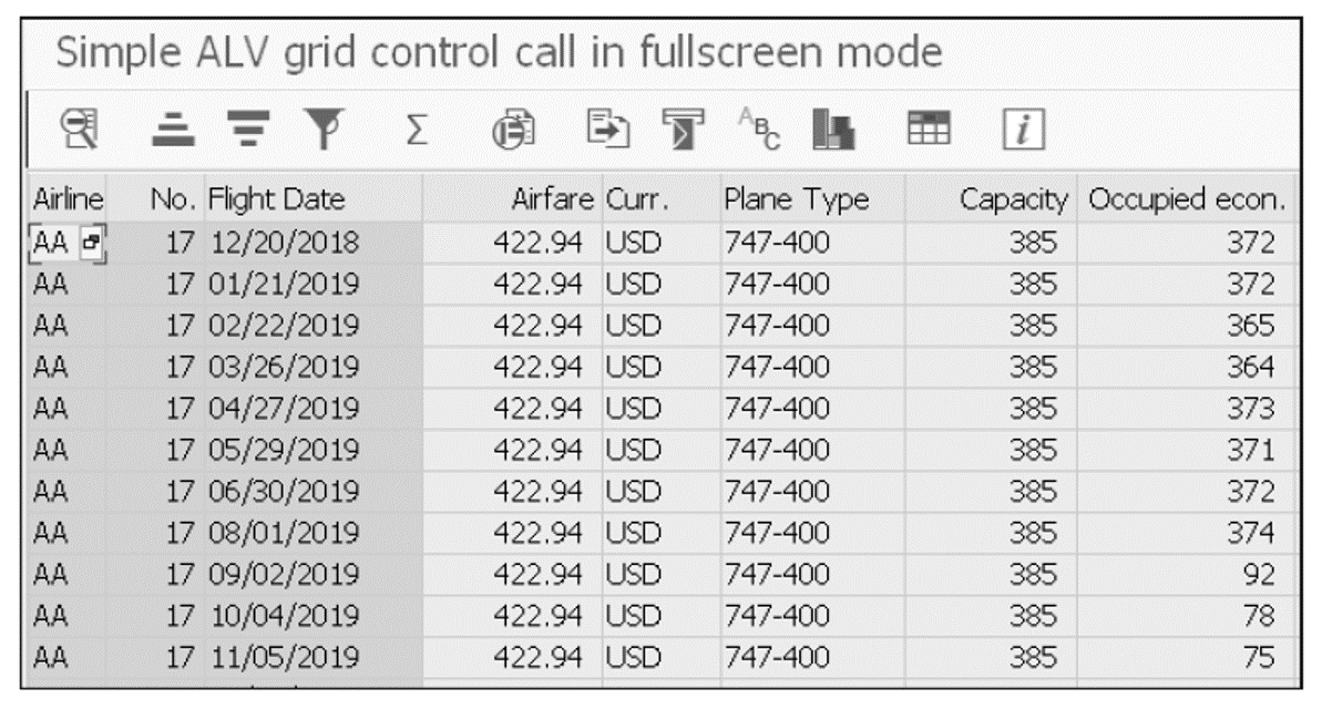 ALV Grid Example Using Function Module