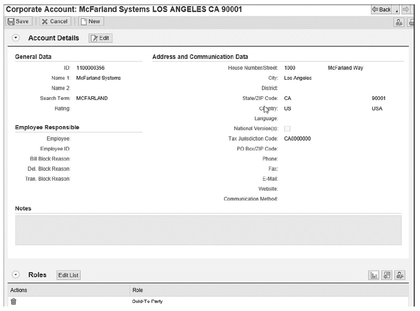 Business Partner Details: McFarland Systems, Screen 1