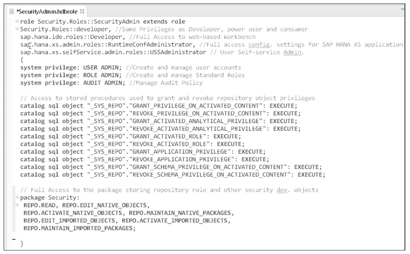SecurityAdmin Repository Role Script