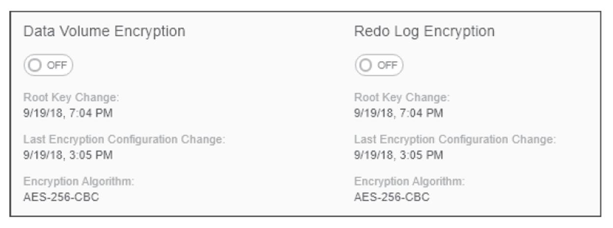 SAP HANA Cockpit Data Volume and Redo Log Volume Encryption Management Screen