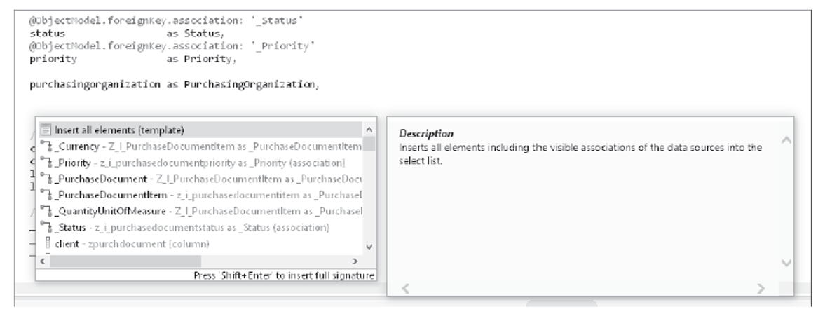 Triggering the Eclipse Content Assist for CDS Fields Using the Keyboard Shortcut
