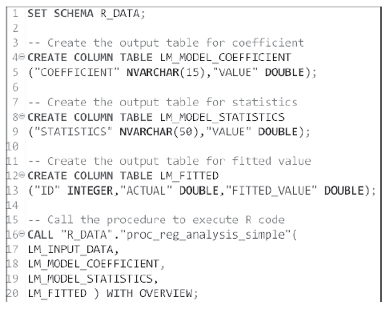 Calling the RLANG Procedure from SQL Editor