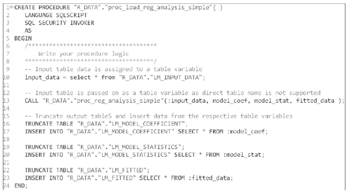 SQLScript Procedure That Calls the RLANG Procedure