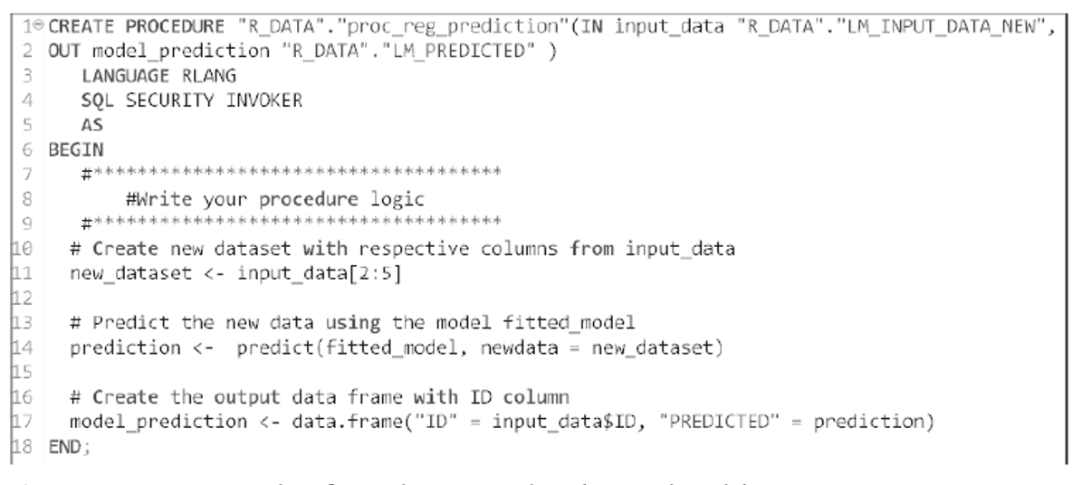 RLANG Procedure for Prediction Based on the Fitted Model