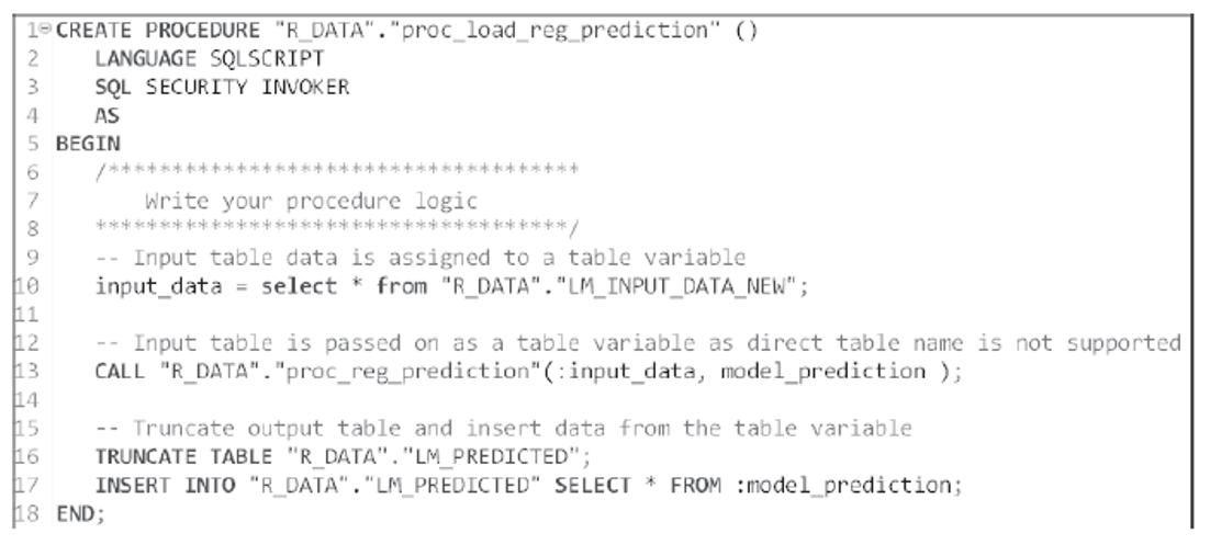 Wrapper SQLScript Procedure for Prediction