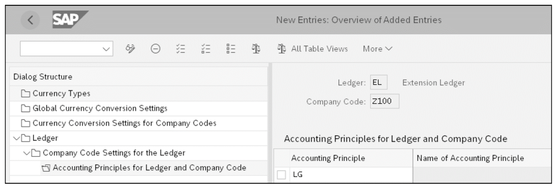 Assign the Accounting Principle to the Extension Ledger