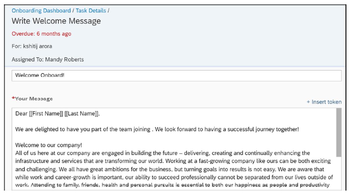 SAP SuccessFactors Onboarding: Write Welcome Message