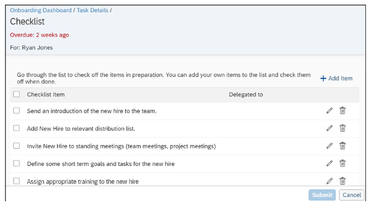 SAP SuccessFactors Onboarding: Participant Checklist