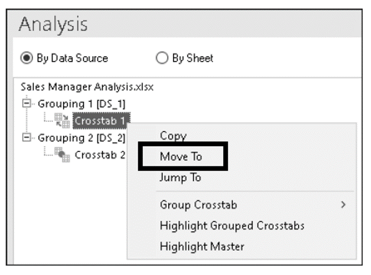 Changing the Position of the Master Crosstab