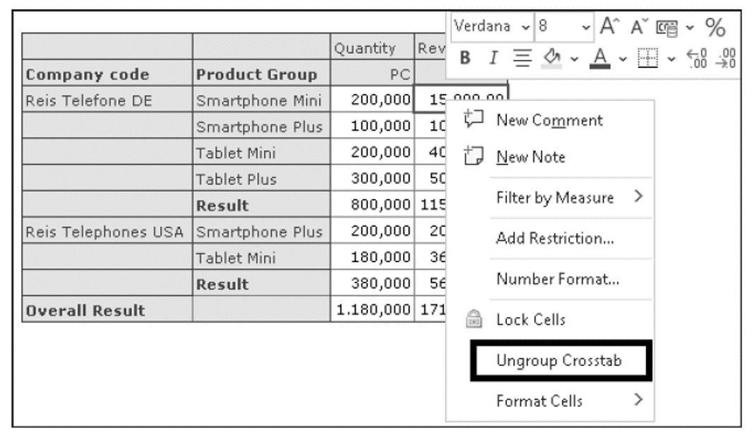 Ungrouping Dependent Table Using Context Menu