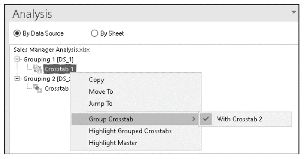 Ungroup Crosstab in the Components Tab