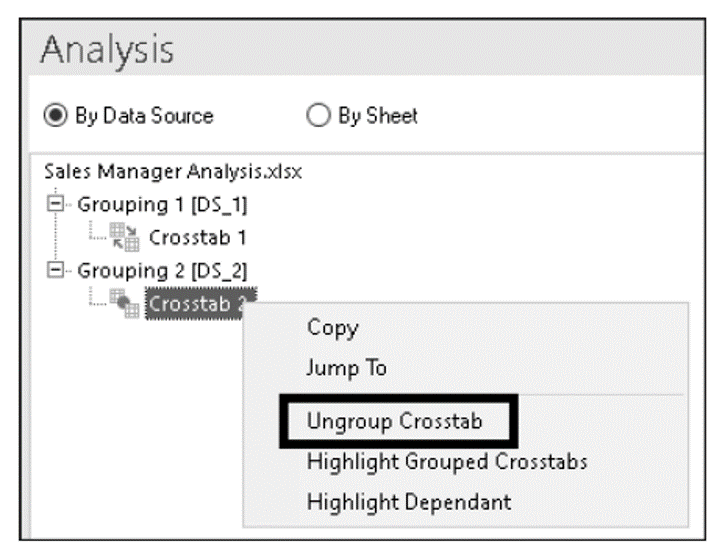 Ungrouping a Dependent Crosstab via the Components Tab