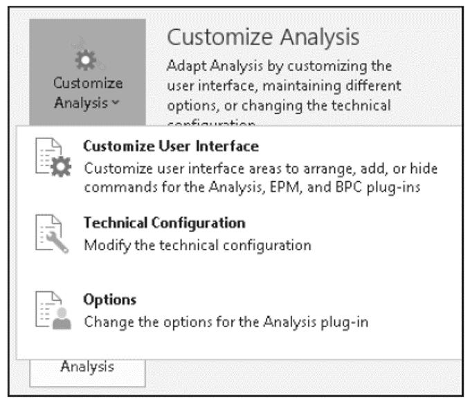Adjusting SAP Analysis for Microsoft Office Options