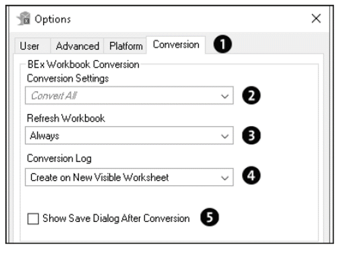 Conversion Options