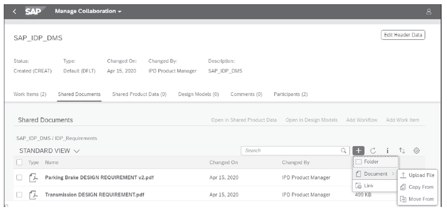 Manage Collaboration in SAP Intelligent Product Design