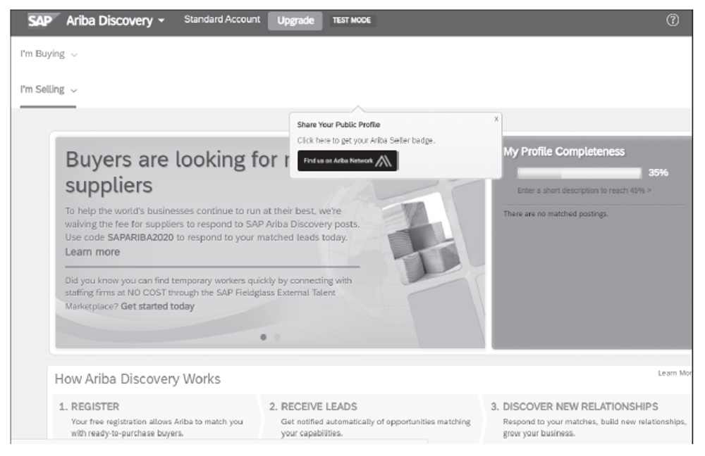Using SAP Ariba Discovery as a Seller