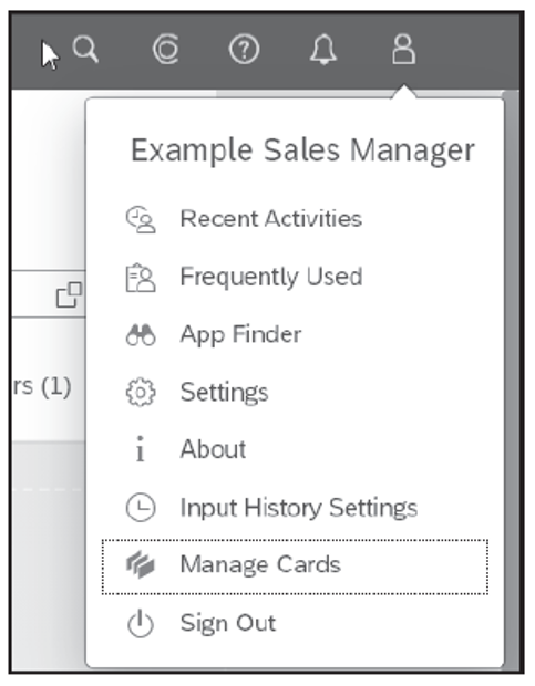 Manage Cards of Opened Overview Page