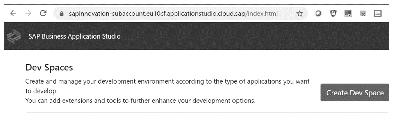 SAP Business Application Studio: Initial Page