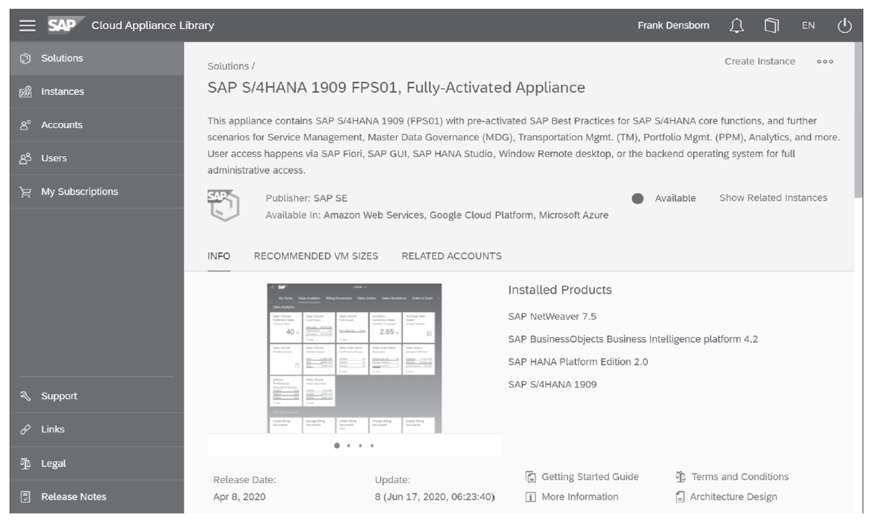 SAP S/4HANA 1909 Fully Activated Appliance in SAP Cloud Appliance Library