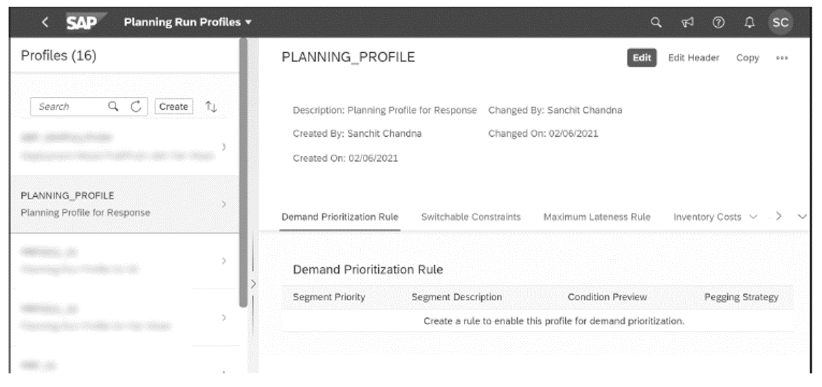 Example of Demand Prioritization Rule in the Planning Profile