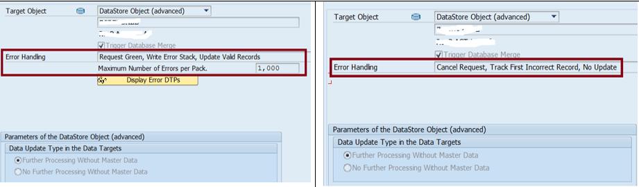 Error Handling Settingin DTP