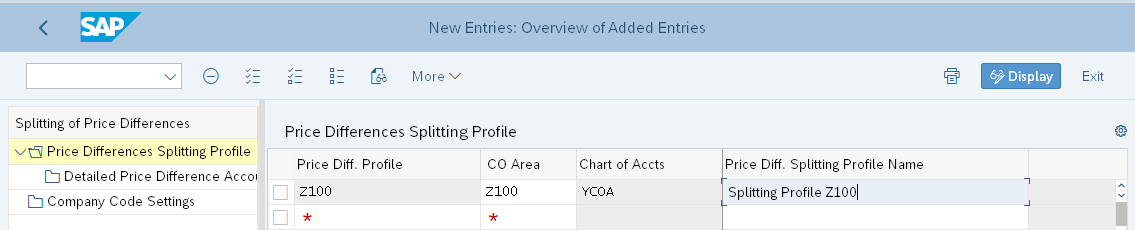 Create Splitting Profile