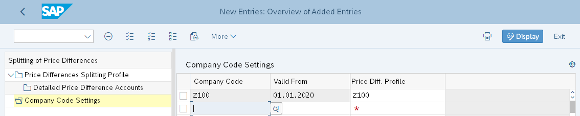 Assign Company Code to Splitting Profile