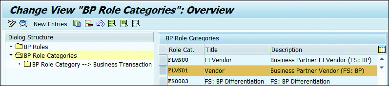 """Change View """"BP Role Categories"""""""