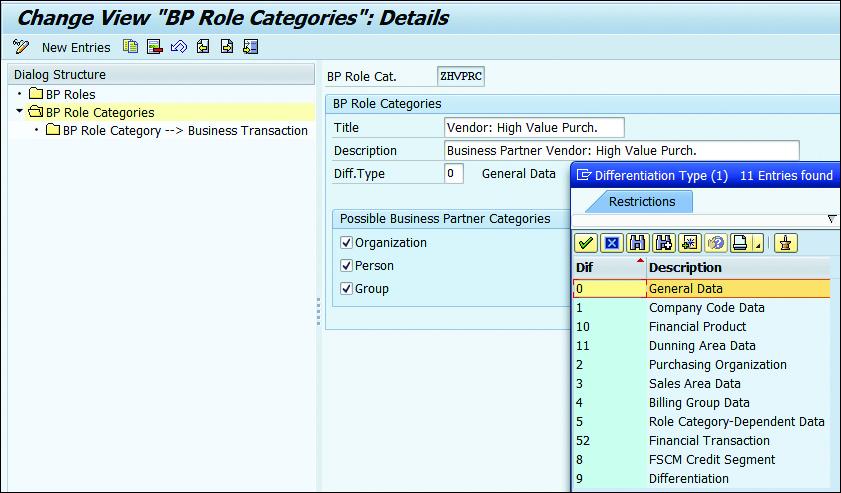 "Change View ""BP Role Categories"": Details"