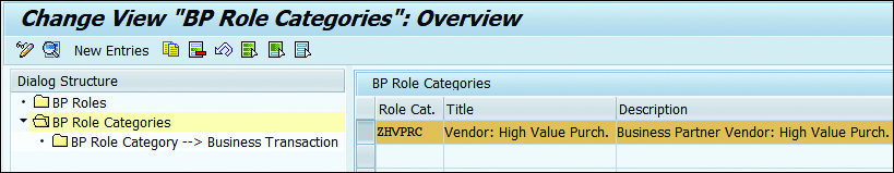 "Change View ""BP Role Categories"": Overview"