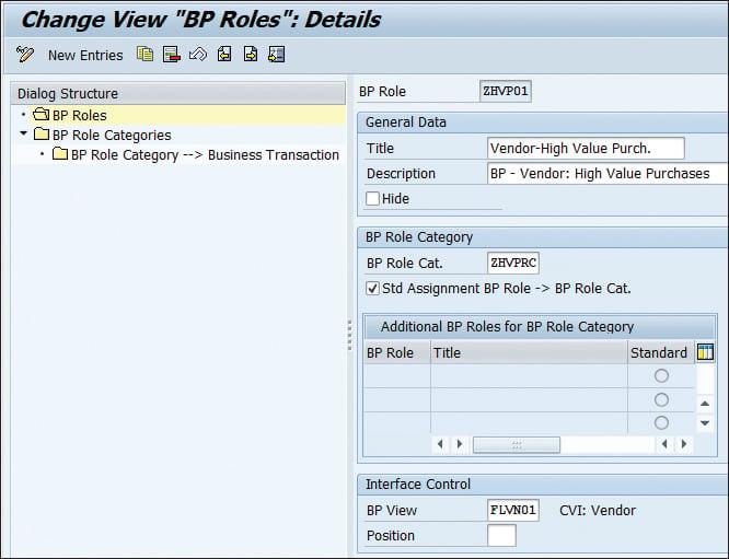 """Change View """"BP Roles"""": Details"""