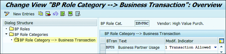 "Change View ""BP Role Category --> Business Transaction"""