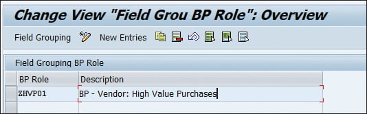 "Change View ""Field Group BP Role"""